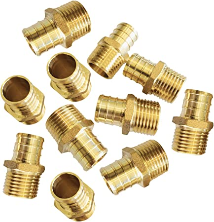 "LEAD-FREE 10 PCS 1//2/"" PEX x 1//2/"" Male NPT Threaded Adapters Brass  Fittings"