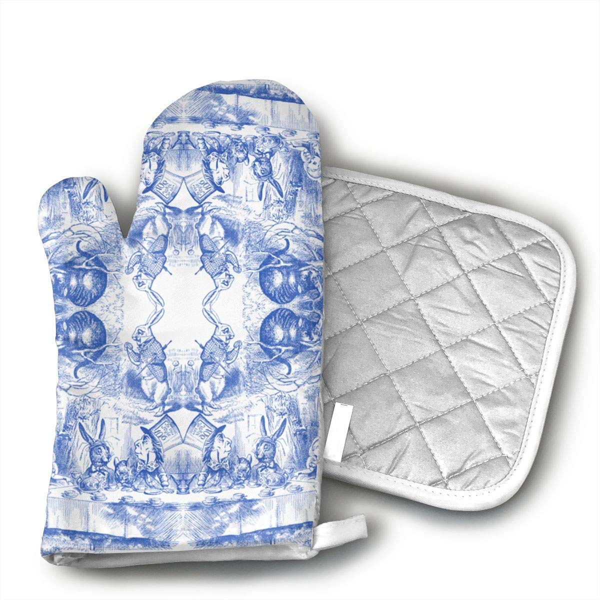 HiHMJ Alice in Wonderland Microwave Oven Gloves,Cotton Oven Gloves Heat Resistant Microwave Oven Kitchen Gloves
