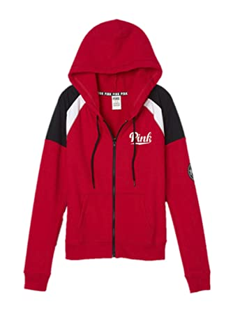 Victoria's Secret PINK Perfect Zip Hoodie Medium Red at Amazon ...