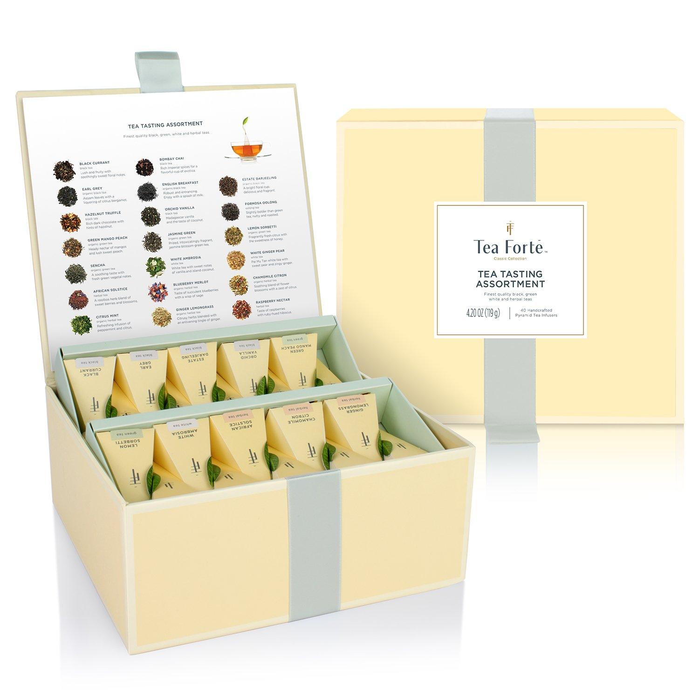 Tea Forté Tea Tasting Assortment Tea Chest, Assorted Variety Tea Box, 40 Handcrafted Pyramid Tea Infuser Bags - Black Tea, Herbal Tea, Oolong Tea, Green Tea, White Tea
