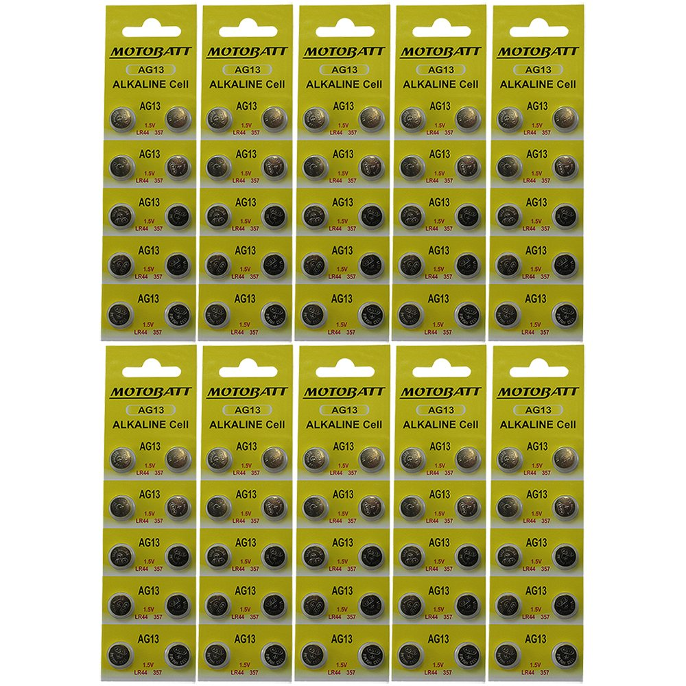 100 MotoBatt LR44 AG13 A76 357 357A 303 SP76 L1154 SR44W 157 4276 PX76A RW82 EPX76 G13 Alkaline Battery