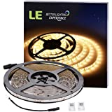 LE 16.4ft Waterproof Flexible LED Light Strip, 300 Units SMD 2835 LED, 12V LED Light Strips, 3000K Warm White, LED Tape, For Garden/Home/Kitchen/Car/Bar/Christmas Decoration