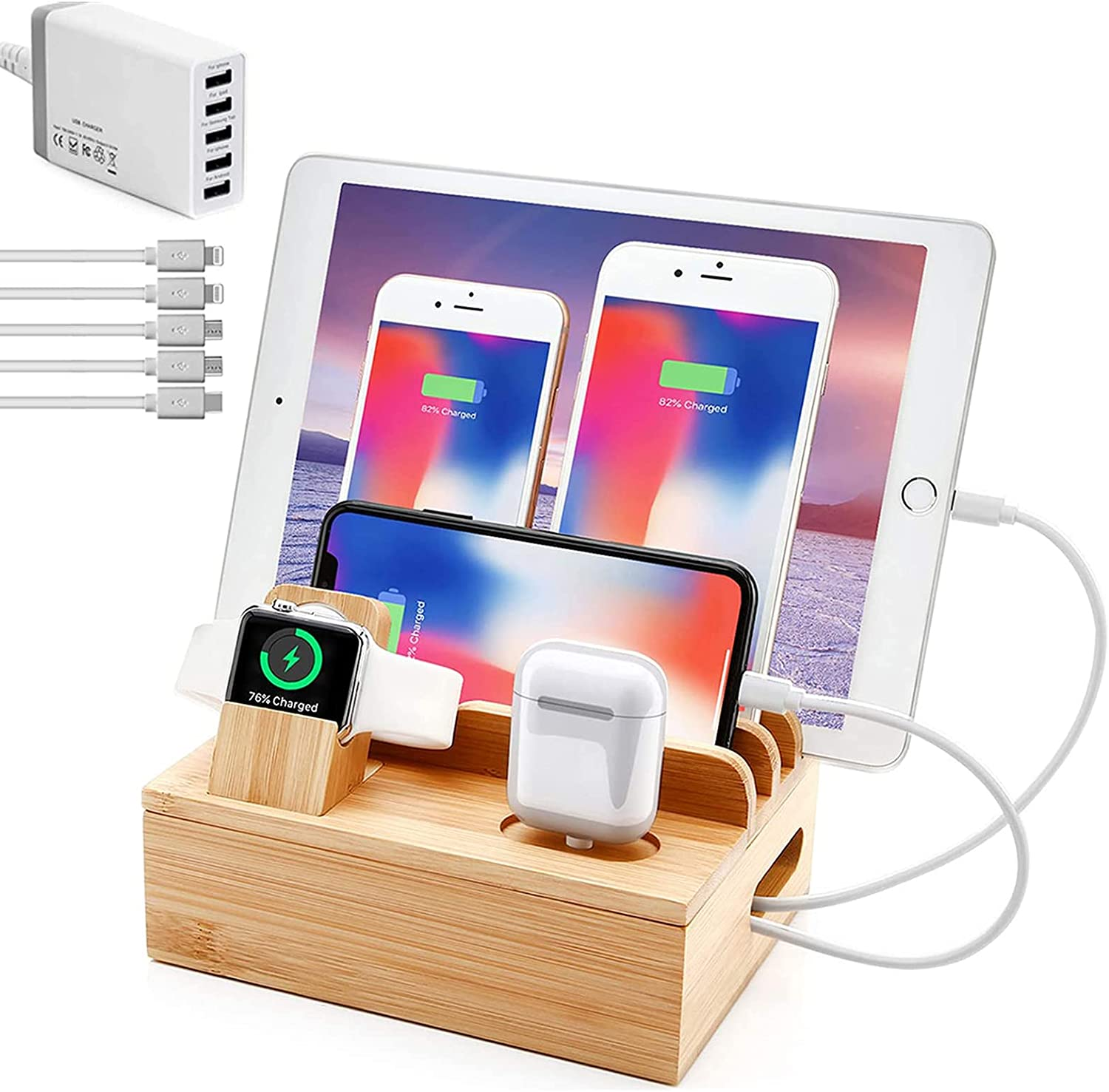 Charging Station for Multiple Devices, 6 in 1 30W USB Bamboo Charging Station Dock Charger Organizer with 5 Cables for Apple Product, iPhone, iPad, Apple Watch, Airpods, Android Phones, Samsung