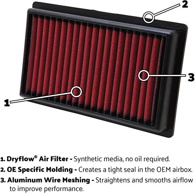 MADE IN USA AEM 28-20296 STOCK REPLACEMENT WASHABLE REUSABLE PANEL AIR FILTER
