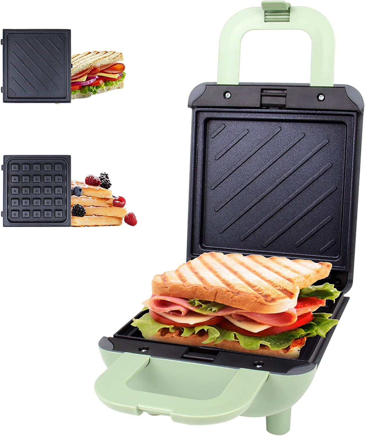 Mini 2 in 1 Waffle Maker Sandwich Toaster with Dual Side Heating Removable Non-stick Coating Plates, Cool Touch Locking Handle 600W