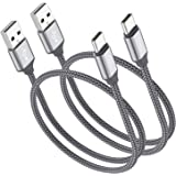 Short USB Type C Cable,OneKer(1ft 2-Pack) Portable USB-C Charger Nylon Braided Fast Charging Cord Compatible Samsung Galaxy S10 S9 S8 Plus Note 9 8,LG G5 G6 V20 30,Google Pixel 2 XL,Power Bank(Grey)