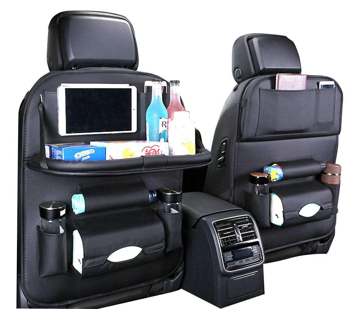 Car Back Seat Organizer with Table Tray and iPad Holder, PU Leather Automobile Seat Organizer with Foldable Dining Table, Tissue Box and Water Bottle Holder - Perfect Travel Storage Bag for Kids(1 PC)