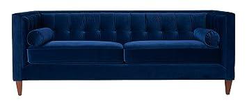 jennifer taylor home jack collection modern velvet upholstered tufted square back sofa with 2 bolster pillows
