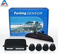 Auto safety Car Reverse Backup Radar System parking sensor kit ,LED Dispaly + Human Voice Alert +4 sensors+4 colors for Universal Auto Vehicle (Black)