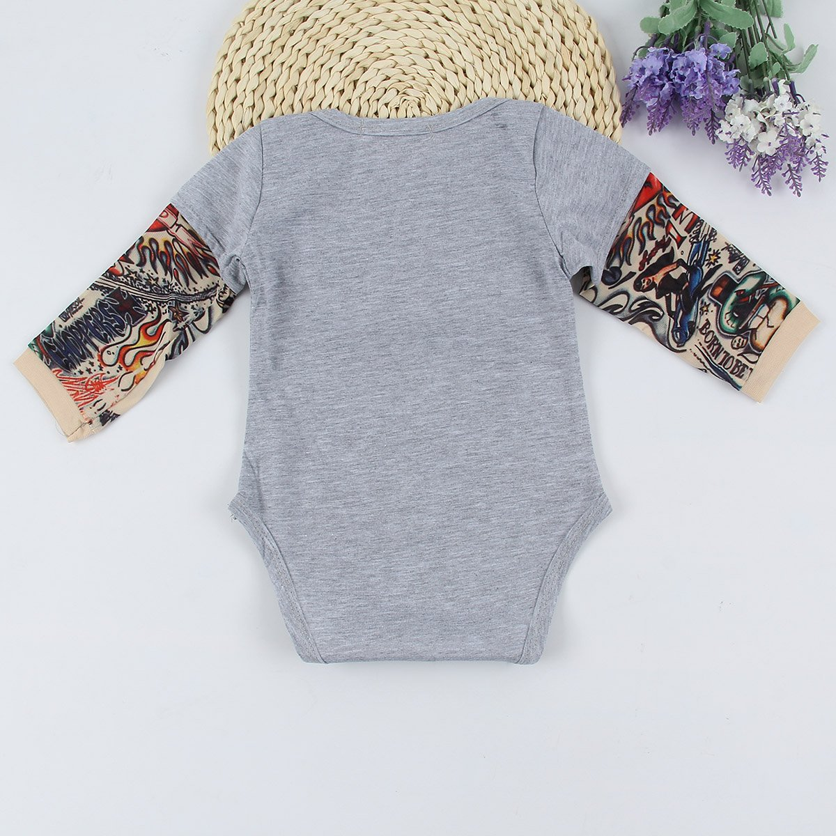 topseller-hzy Newborn Baby Boys Girls Tattoo Print Long Sleeve Romper Jumpsuit Bodysuit Outfits