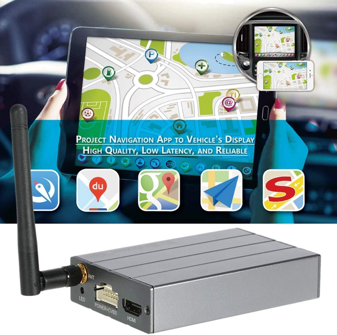 Phone to Car /& Home TV WiFi Mirror Box Compatible for iOS Android Airplay Miracast DLNA GPS Navigation picK-me C1 Car WiFi Display Dongle