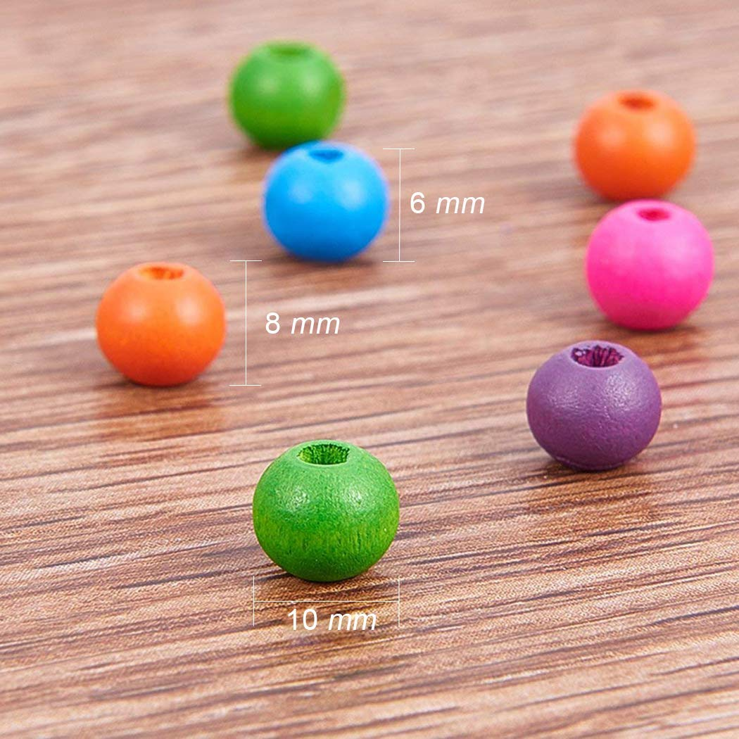 Voarge Lot de 600 Perles en Bois Multicolores pour Fabrication de Bracelets de 6 mm 8 mm 10 mm