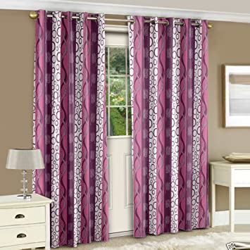 Story@Home Nature Collection Polyester Eyelet Set of 2 Piece Floral Pattern Door Curtains - 7 ft, Purple Curtains at amazon