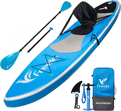 Freein Stand Up Paddle Board Inflatable SUP 10 10 6 Long with Kayak Conversion Kit,Package Kayak seat,Adj 2 in 1 Paddle,Backpack,Leash,Pump
