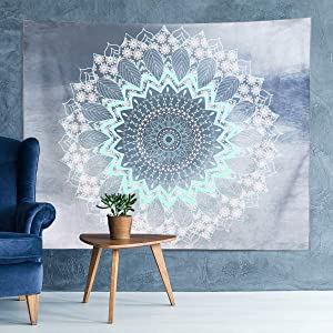Mandala Tapestry Wall Hanging Mystic Boho Tapestries with Trendy International Indian Hippie Bohemian Flower Psychedelic Tapestry for Living Room Bedroom Art Home Decor, Green