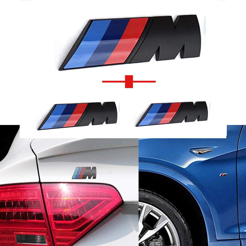 Rear Trunk Emblems Logo Decal Badge Sticker for All BMW Haocc Loud M Black 3pcs Tri Color Fender Side