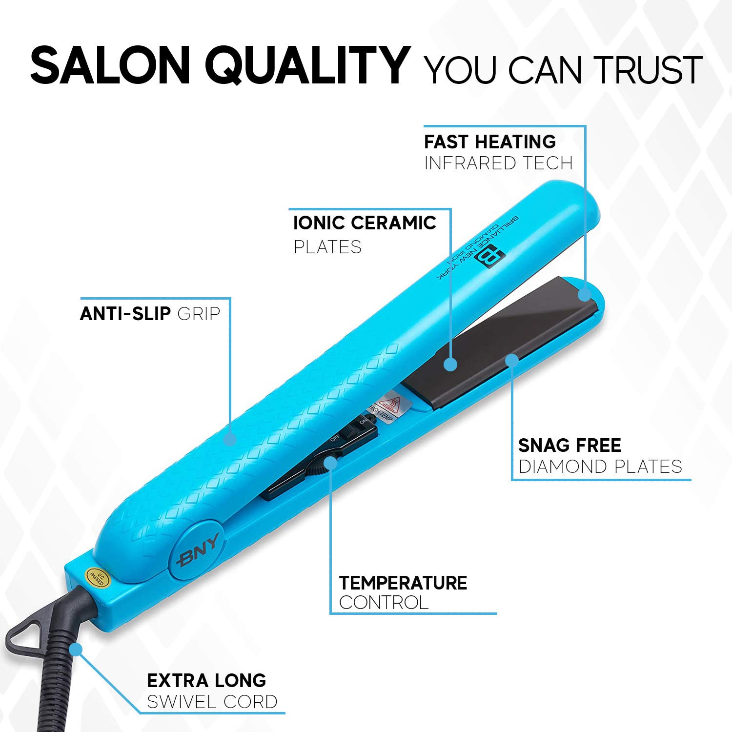 Brilliance New York - 1.25 Inch Diamond Ceramic flat iron - 2 in 1 hair Straightener and Curler - Frizz-free and Anti-static Ionic Plates - Dual Voltage