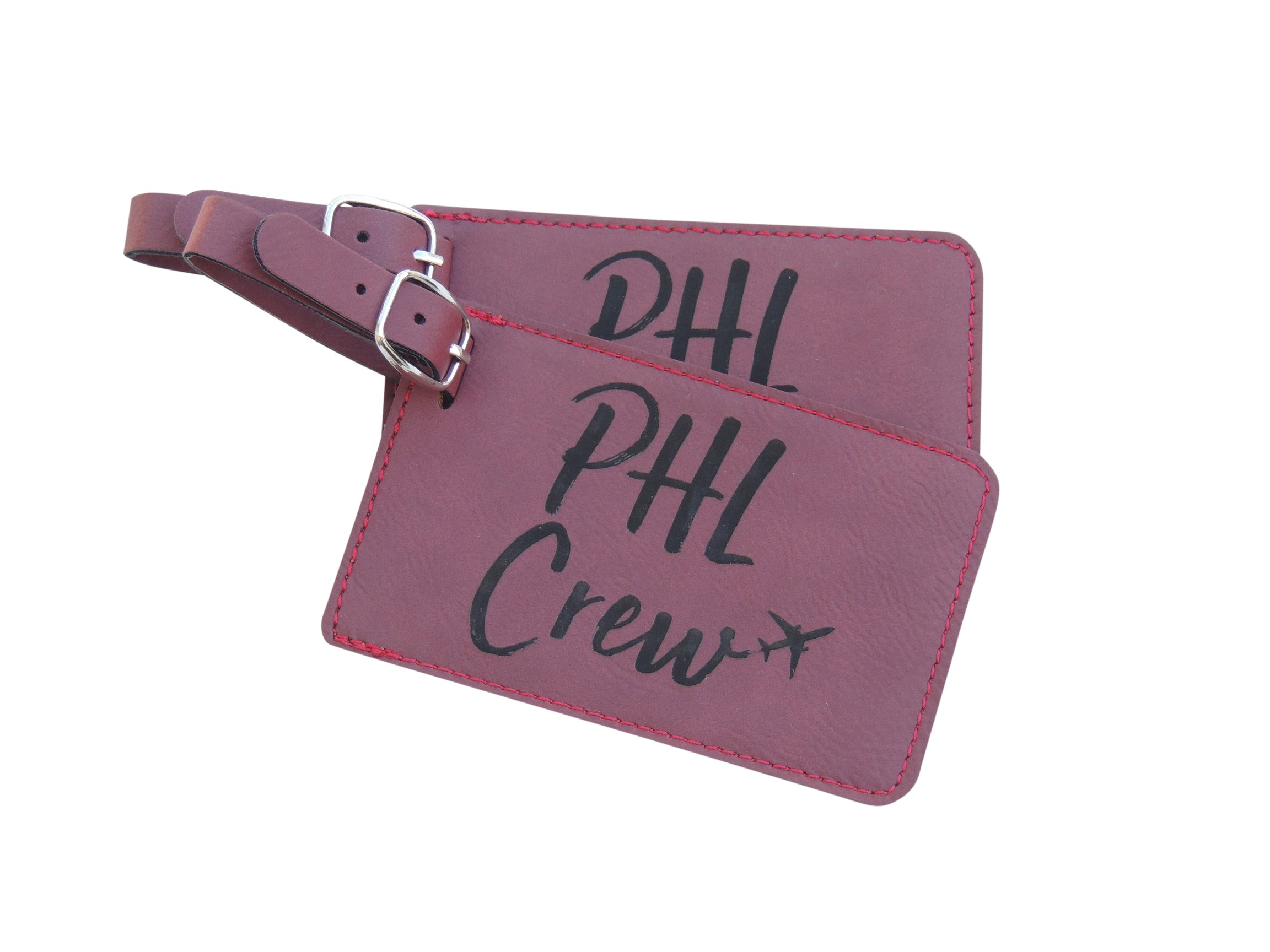 Philadelphia Crew Luggage Tag, American PHL Crew Base Set of Two, (Pink) by Airspeed Junkie (Image #1)
