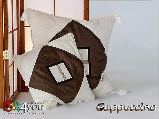 Bali4you - Funda de cojín 60 x 60 Moca Almohada sofá cojín ...