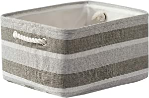 Large Storage Baskets for Organizing Fabric Storage Basket Collapsible Storage Baskets for Shelves,Decorative Bins with Handles for Linens,Clothes,Home Closet & Office - Gray stripes,15.7L×11.8W×8.3H