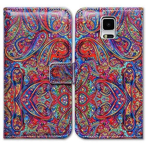 Bfun Packing Bcov Bright Paisley Pattern Card Slot Wallet Leather Cover Case for Samsung Galaxy S5 (Purse Case For Samsung Galaxy S5)