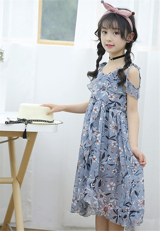 6c6f9321ceb7 Amazon.com: Little Girls Spaghetti Strap Off Shoulder Hawaiian Flowers Maxi  Beach Dress: Clothing