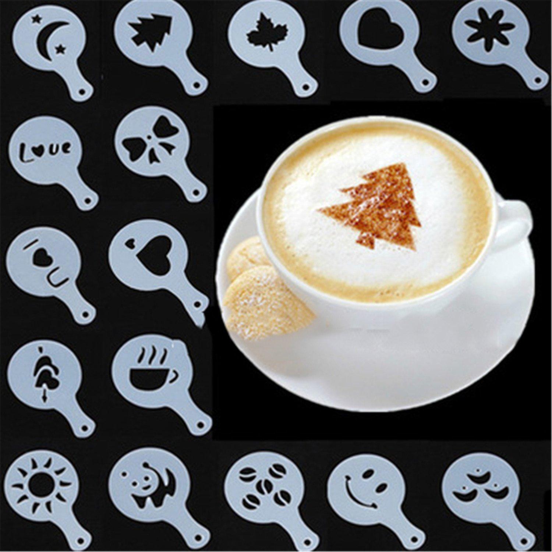 16 x Nuevo Molde Plantilla para Café Capuchino Decoración Arte Moda Práctico: Amazon.es: Hogar