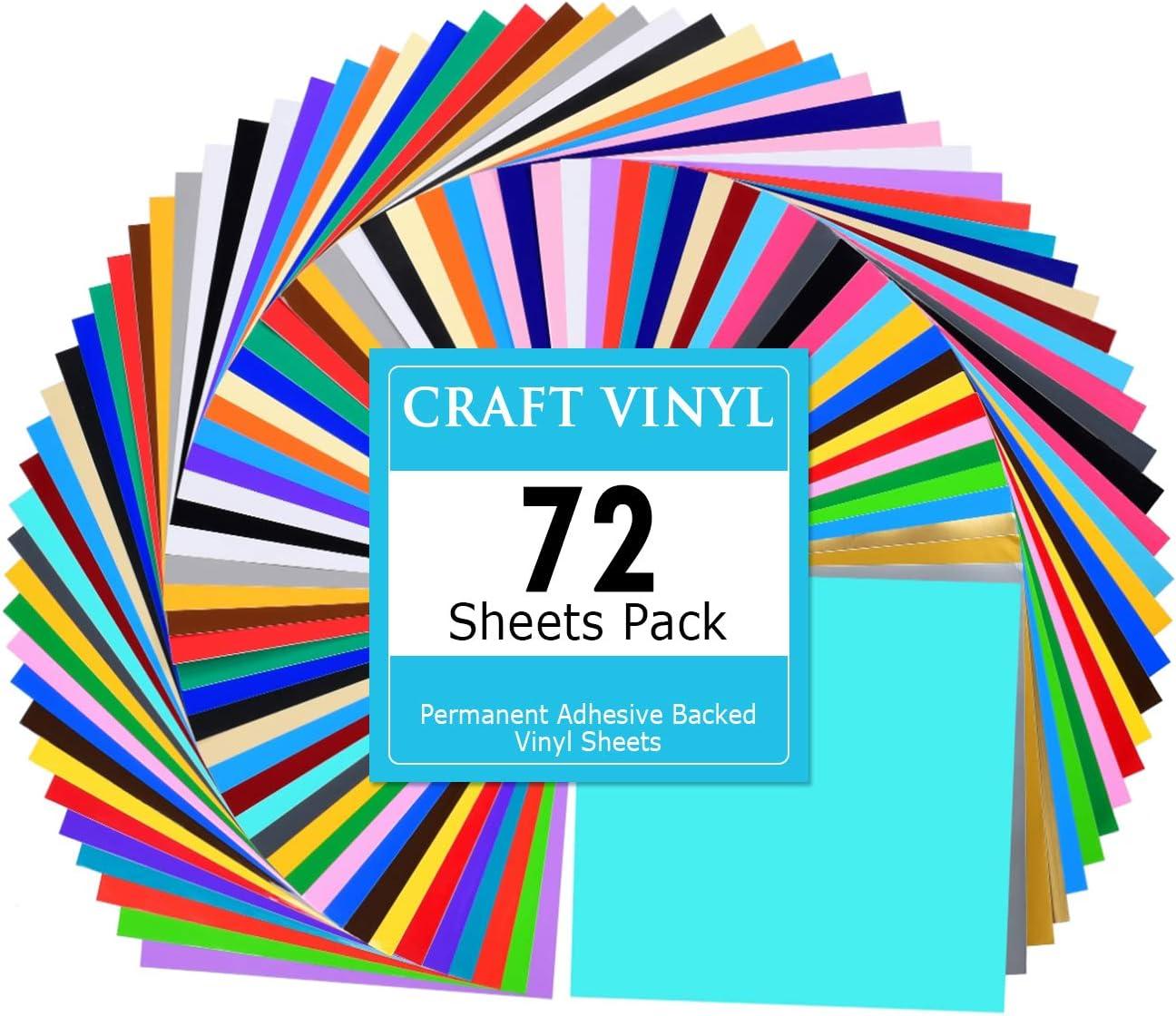 Lya Vinyl 72 hojas de vinilo adhesivo permanente de colores diferentes, 12 x 12 pulgadas con 2 papeles de transferencia para calcomanía decorativa, corte en relieve, silueta de camuflaje, máquina cortadora de