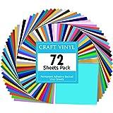 Lya Vinyl 72 Assorted Colors Permanent Adhesive Vinyl Sheets 12 x 12 inchs for Decor Sticker, Weeding Machine, Craft…