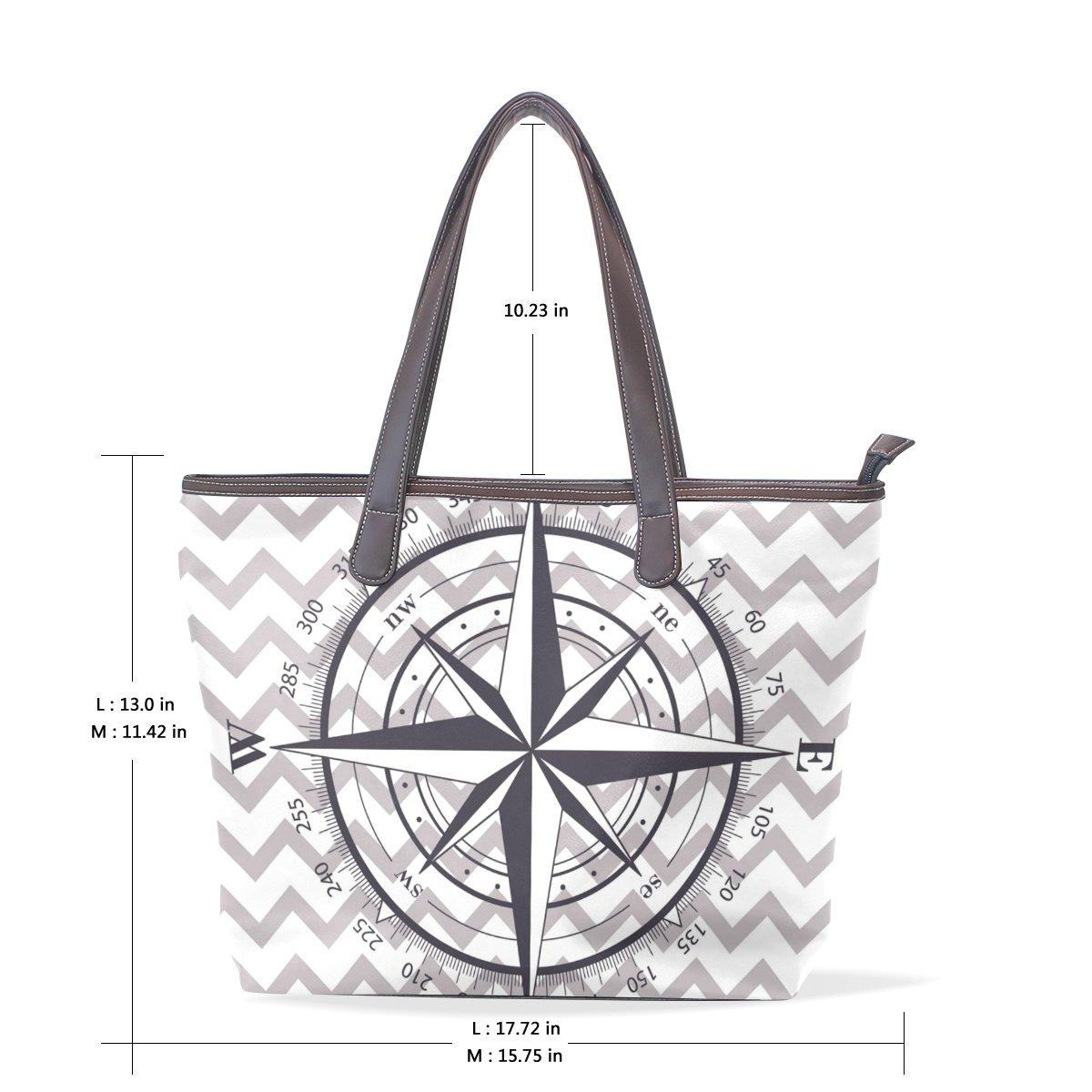 COOSUN Kompass Kompass Kompass Large Tote PU-Leder-Handgriff-Schulter-Beutel-Taschen-Tasche L (33x45x13) cm muticolour B07CJJFXYX Schultertaschen Garantiere Qualität und Quantität 56ad0b