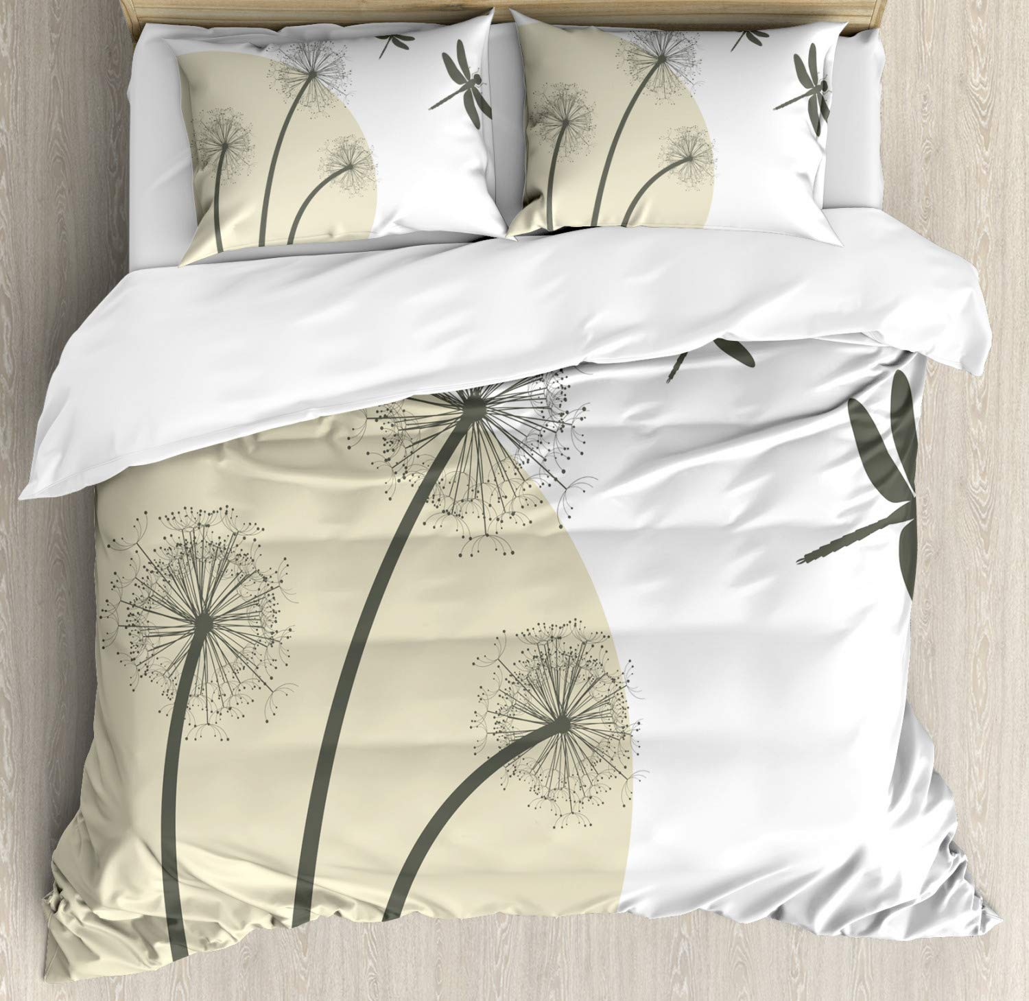 Ambesonne Dragonfly Duvet Cover Set Queen Size, Spring Dandelions Botany Blossoming Petals Essence of Nature Growth Theme, Decorative 3 Piece Bedding Set with 2 Pillow Shams, Tan Army Green