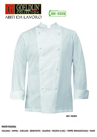 Chaqueta blanca estilo cocinero con 8 botones - Talla M - Incluye delantal: Amazon.es: Hogar