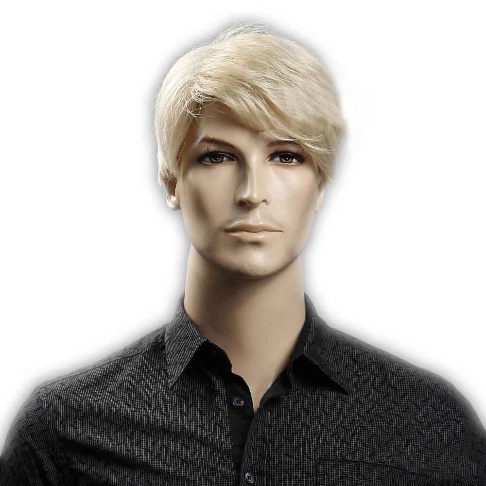 GOOACTION Male Short Straight Blonde Wig