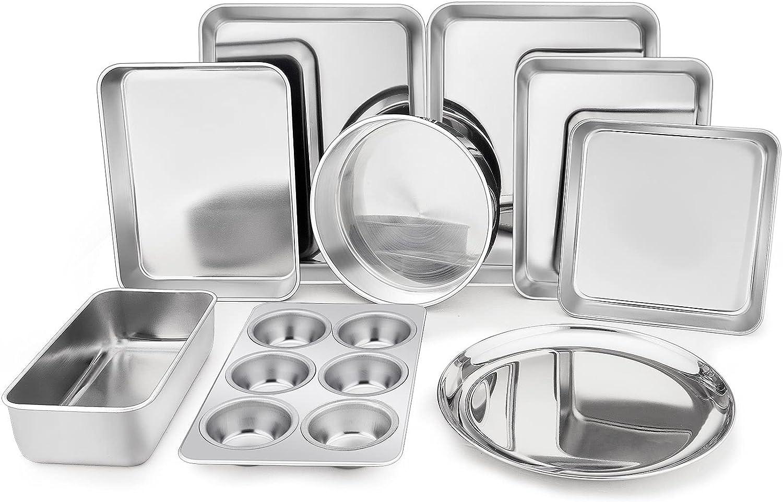 TeamFar Stainless Steel Bakeware Set of 9, Toaster Oven Baking Pan Set, Rectangular Cake Lasagna Pan, Square & Round Cake Pan, Loaf Pan & Muffin Pan, Healthy & Durable, Dishwasher Safe