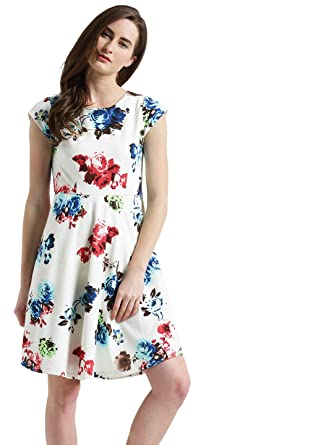 Zink London White Floral Print Skater Dress for Women  Amazon.in ... 30209897c