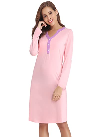 980b9afc99 Image Unavailable. Image not available for. Color  Hawiton Women s Roll up  Sleeves Cotton Nightgown Dress Sleepwear Shirt ...