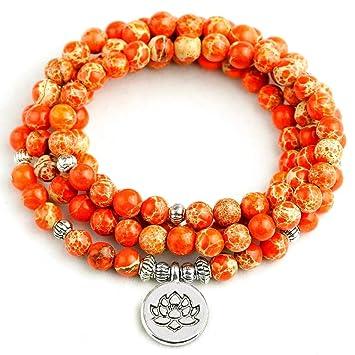 QIANJY Pulsera para Mujer Orange Sea Sediment Stone 108 Mala ...