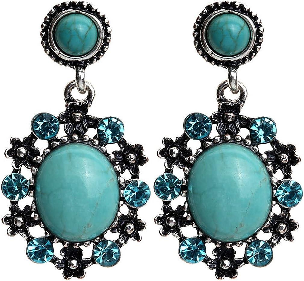 Plata turquesa Pendientes con Cristal Yazilind azul cristalino adorna tibetanos gota cuelga