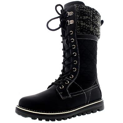 bbcf8c17f06 Polar Womens Snow Durable Outdoor Thermal Winter Warm Waterproof Mid Calf  Boot - Black - UK3
