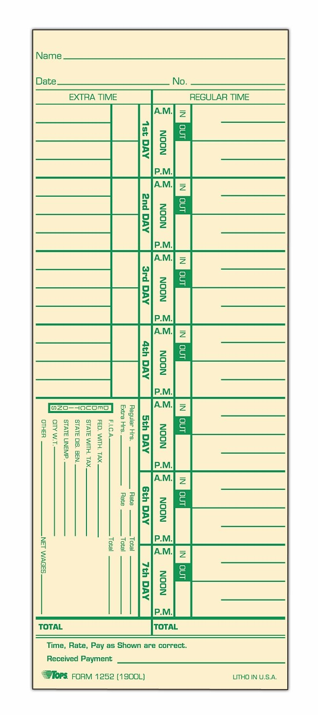 Tops Time Cards , Weekly, 1-Sided, Numbered Days, 3-1/2'' x 9'', Manila, Green Print, 500-Count (1252)