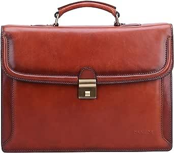 Banuce Vintage Full Grains Leather Mens Briefcase with Lock Attache Case for Men Handbags Business Bags 14 Inch Laptop Messenger Satchel Bag