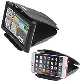 Car GPS Mount Phone Holder with Five Slots Adjustment (2 in 1), Sticky Non-Slip Matte Black Dash Holder for Garmin Nuvi…