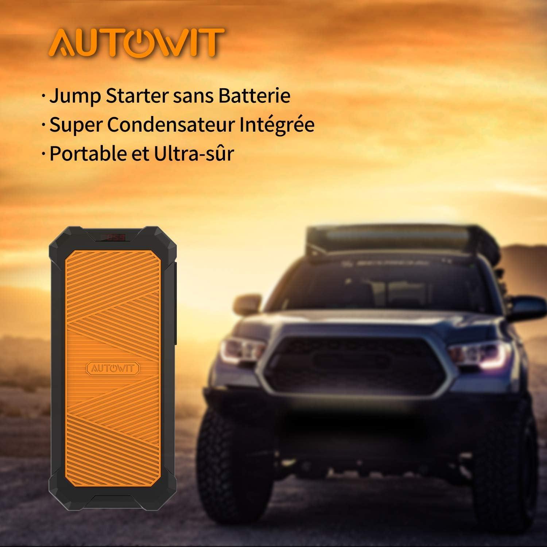sans Batterie Jusqu/à 7,0L Essence 4,0L Diesel D/émarreur de Voiture avec Supercondensateur Int/égr/é autowit SuperCap 2 Booster Batterie Aucune Pr/é-Charge Requise 800A Jump Starter Portable