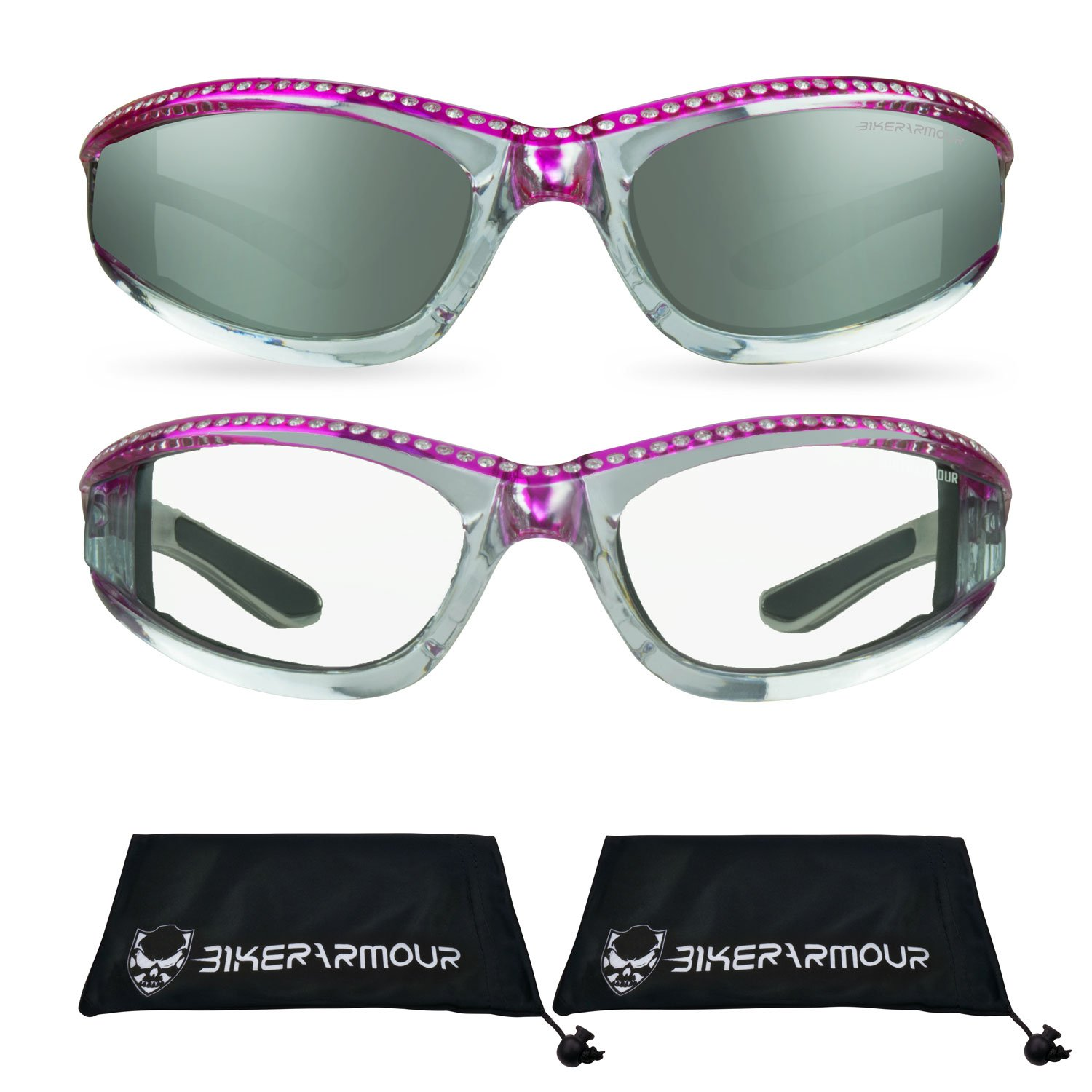 84e1e9e16c76 Amazon.com  Chrome Motorcycle Safety Glasses with Rhinestones Foam Padded  for Women (Mirror Smoke Pink + Clear Pink Combo)  Automotive