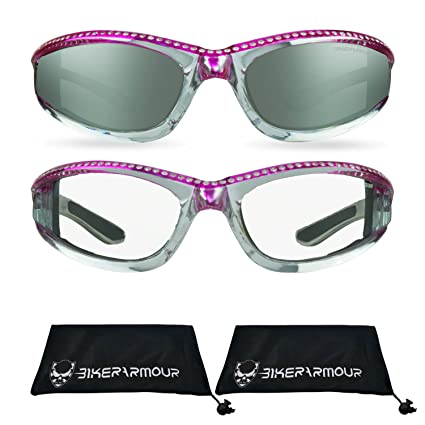 f1ccd3e5f617 Amazon.com  Chrome Motorcycle Safety Glasses with Rhinestones Foam ...