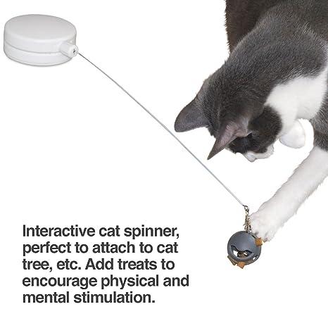 PetFusion - Spinner interactivo para gatos – Juguete giratorio para gato con adhesivo de velcro multisuperficie