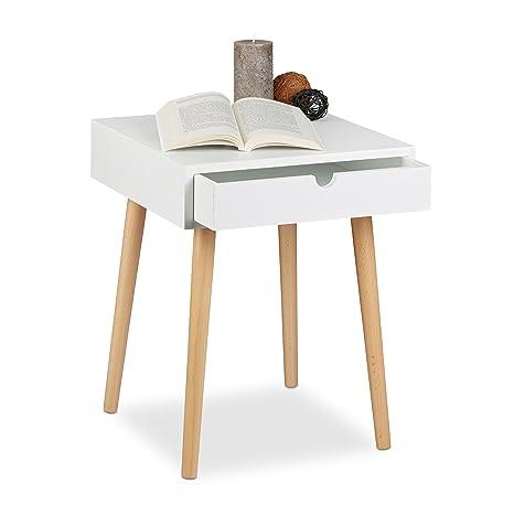Relaxdays Comodino Arvid per Camera da Letto, Cameretta, Tavolino con  Cassetto, Design Nordico, HxLxP: 50,5x40x40 cm, Legno, Bianco