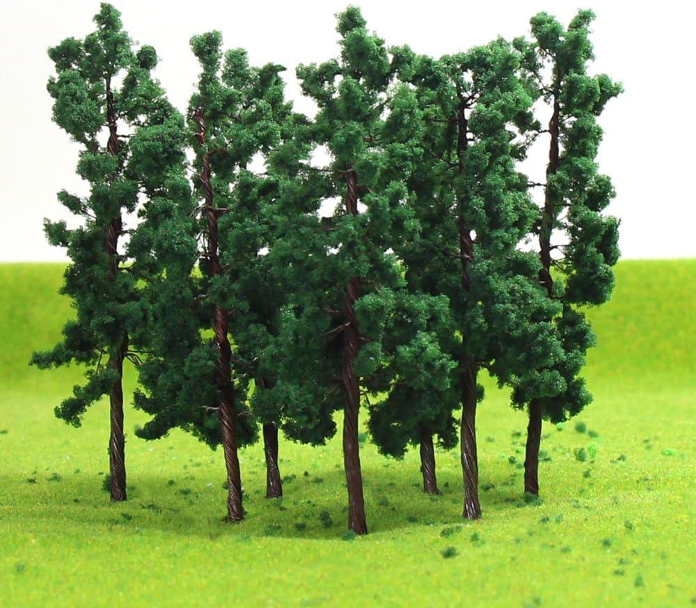 6 x DARK GREEN MODEL TREES 8 cm SCENERY FOR MODEL RAIL OO HO SCALE #B7