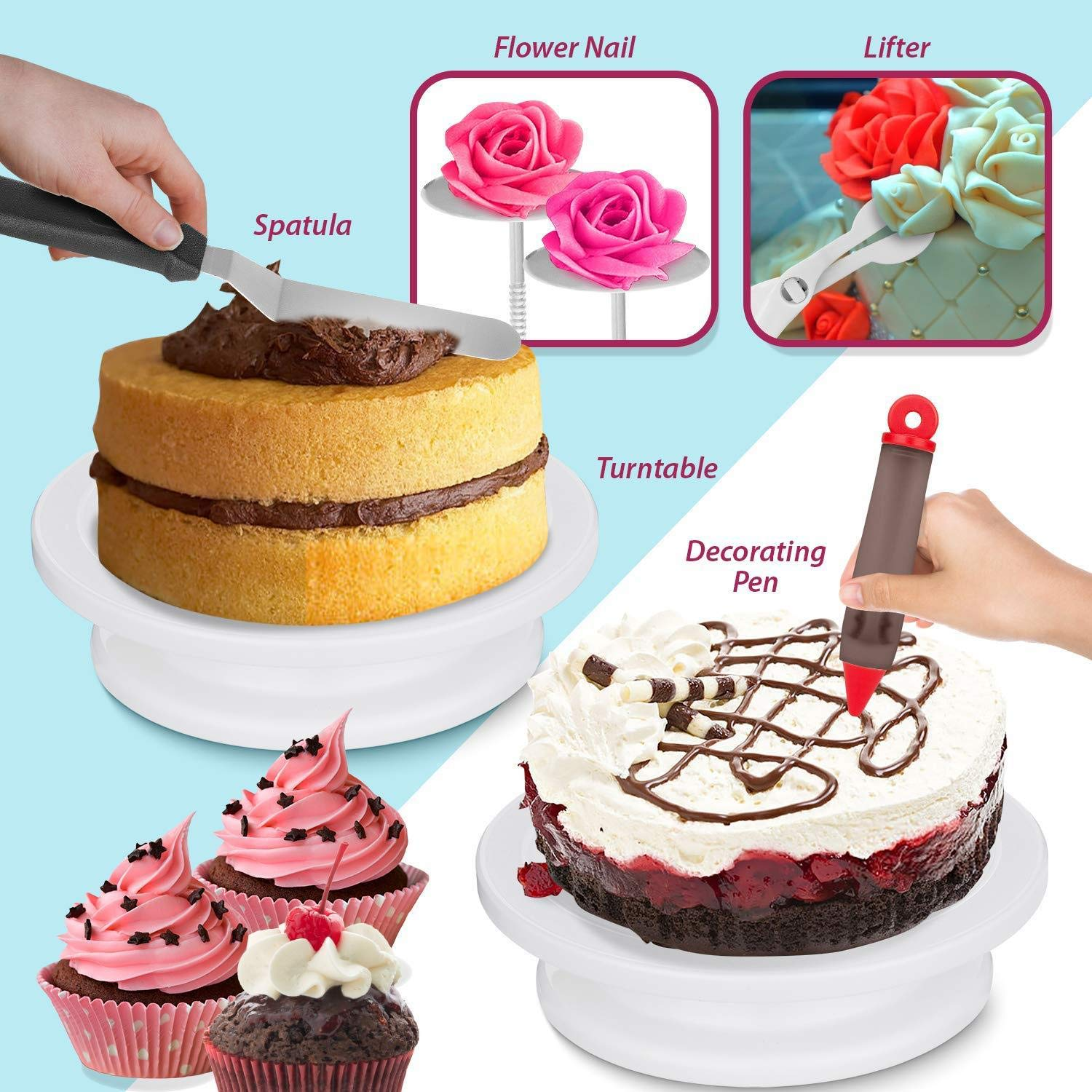 JHKJ 164 -Piece Cake Turntable Set Baking Tool DIY Tool Cake Decorating Kit Supplies by JHKJ (Image #5)