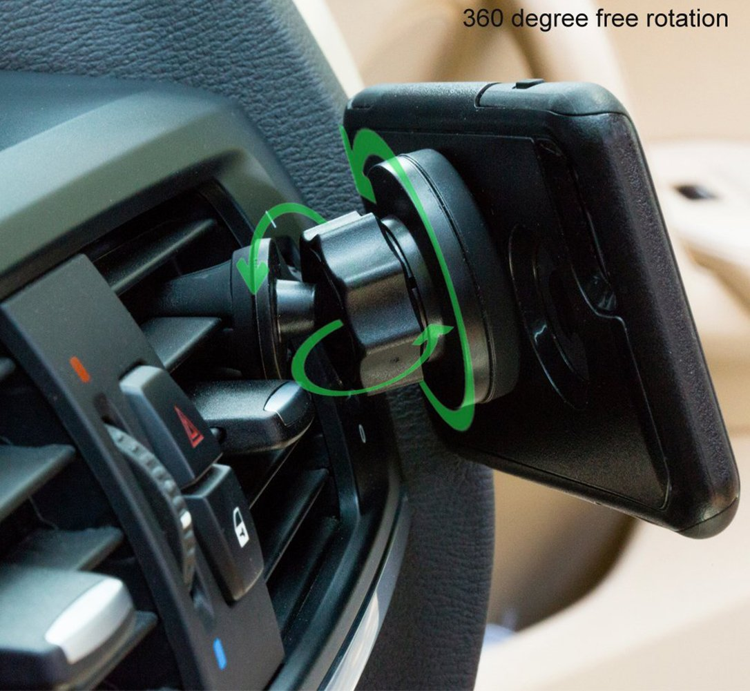 Black 8523710865 Aimitek Universal 360 Rotation Air Vent Magnetic Car Mount Holder Cradle for iPhone 7 Plus 6S Plus SE Andorid Phones Smartphones Mini Tablets